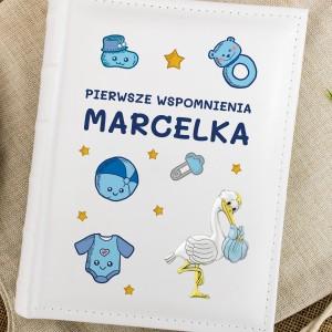album na zdjęcia personalizowany wspomnienia chłopca na prezent na narodziny dziecka