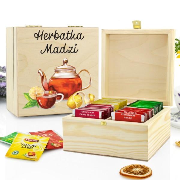 zestaw herbat na prezent w skrzynce z nadrukiem