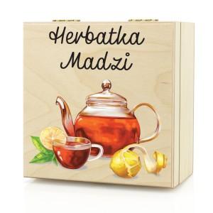 skrzynka drewniana na herbatę z nadrukiem