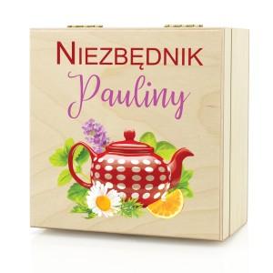 skrzynka na herbatę z imieniem na prezent dla kobiety