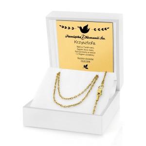 łańcuszek srebrny złocony w pudełku z grawerem na prezent na komunię dla chłopca