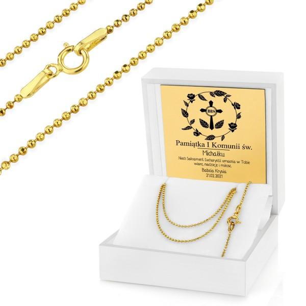 złoty łańcuszek w etui z grawerem na komunię