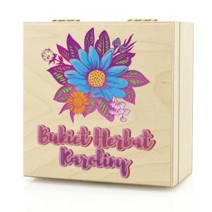 pudełko na herbatę z nadrukiem bukiet na prezent dla dziewczyny