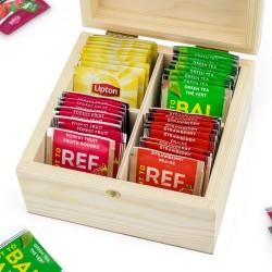 zestaw herbat w drewnianej szkatułce na prezent dla niej