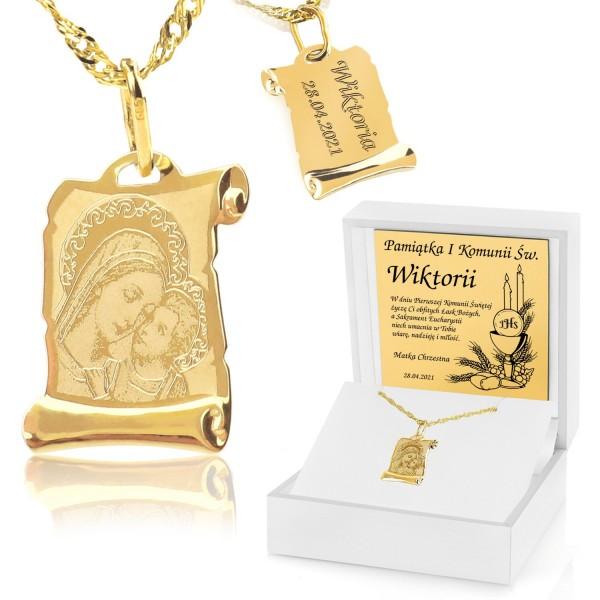 medalik na komunię w pudełku z grawerem na prezent dla chłopca