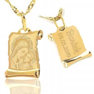 złoty medalik komunijny madonna z dzieciątkiem na prezent na komunię dla chłopca