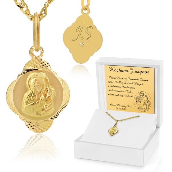 złoty łańcuszek z medalikiem dla dziewczynki w pudełku z dedykacją na prezent na komunię