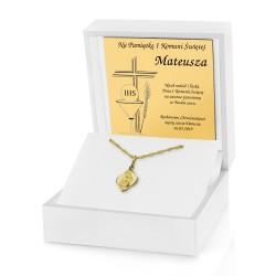 łańcuszek złoty na komunię z medalikiem w pudełku z dedykacją
