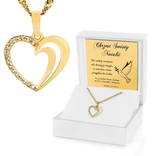 złota zawieszka serce w pudełku z dedykacją na prezent na chrzciny