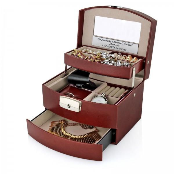 pudełko na biżuterię z grawerem na prezent na komunię