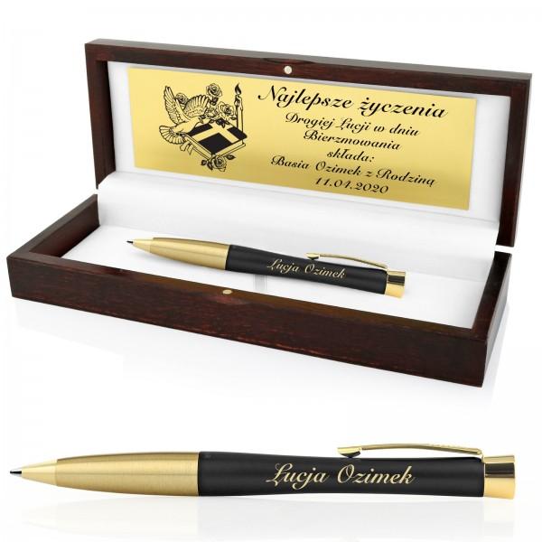 długopis parker w drewnianym pudełku z dedykacją na prezent na bierzmowanie