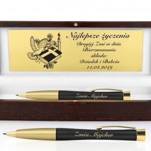 prezent na bierzmowanie od dziadków długopis parker z grawerem dedykacji w drewnianej szkatułce