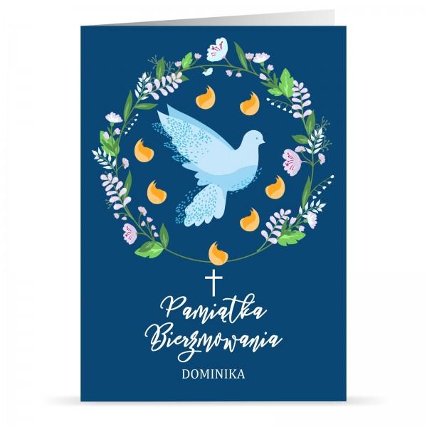 kartka na bierzmowanie biała gołębica