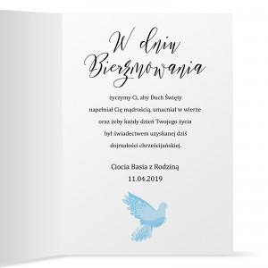 kartka z życzeniami na prezent na bierzmowanie biała gołębica