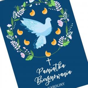 kartka z personalizacją na upominek na bierzmowanie biała gołębica
