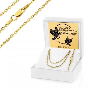 4ddc52b2e8 Personalizuj ten prezent · Łańcuszek pozłacany 45 cm pr. 925 w pudełku na  bierzmowanie - Gołębice