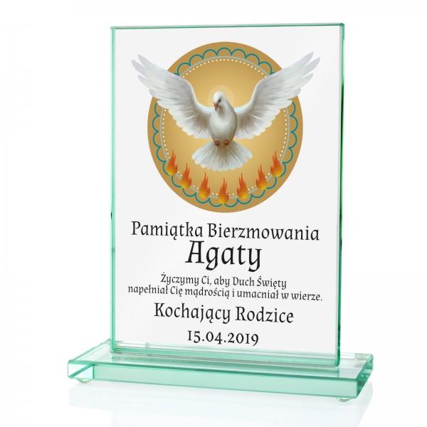 statuetka szklana z nadrukiem na prezent na bierzmowanie dla syna gołąb z płomykami