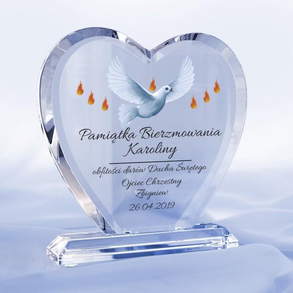 pamiątka bierzmowania statuetka serce z nadrukiem dary ducha świętego