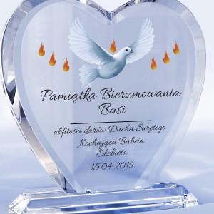 serce szklane z dedykacją na prezent z okazji bierzmowania dary ducha świętego