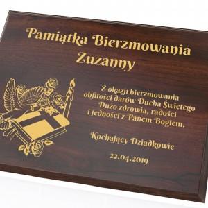 obrazek z dedykacją drewniany na prezent z okazji bierzmowania