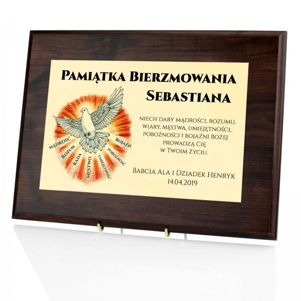 certyfikat z imieniem na prezent z okazji bierzmowania gołębica z garami