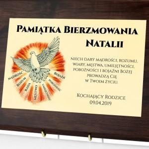 pamiątka na bierzmowanie certyfikat z personalizacją gołębica z darami