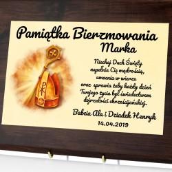 certyfikat z nadrukiem dedykacji na prezent na bierzmowanie dla chłopaka mirta biskupia