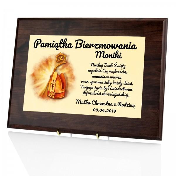 certyfikat w drewnie z dedykacją na prezent na bierzmowanie mitra biskupia