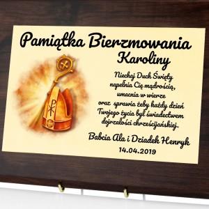 personalizowany certyfikat w drewnie na prezent na bierzmowanie dla dziewczyny mirta biskupia