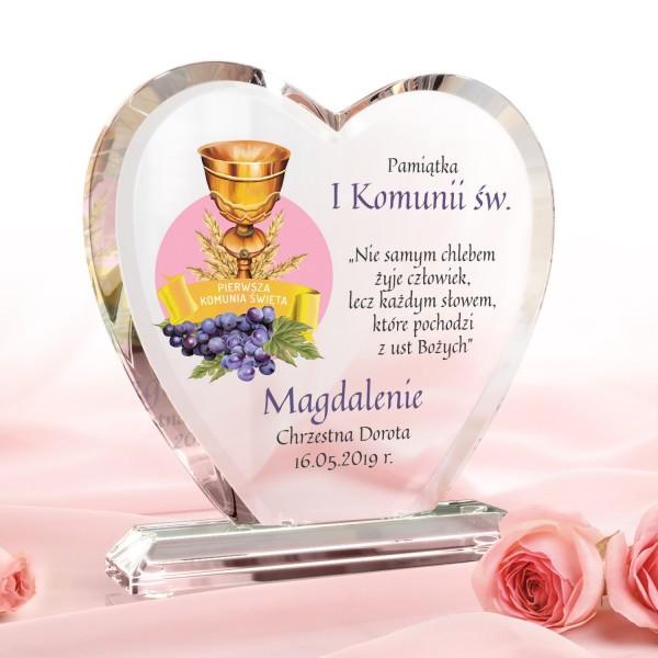 szklane serce z dedykacją na prezent na komunię kielich z kłosami