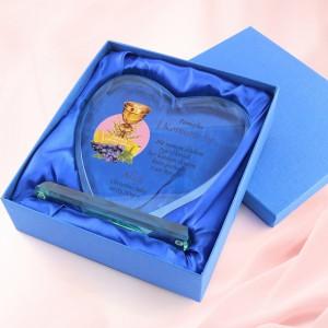 serce ze szkła z dedykacją na prezent na komunię dla dziewczynki