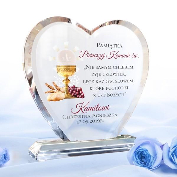 statuetka szklana serce z dedykacją na prezent na komunię kielich z chlebem