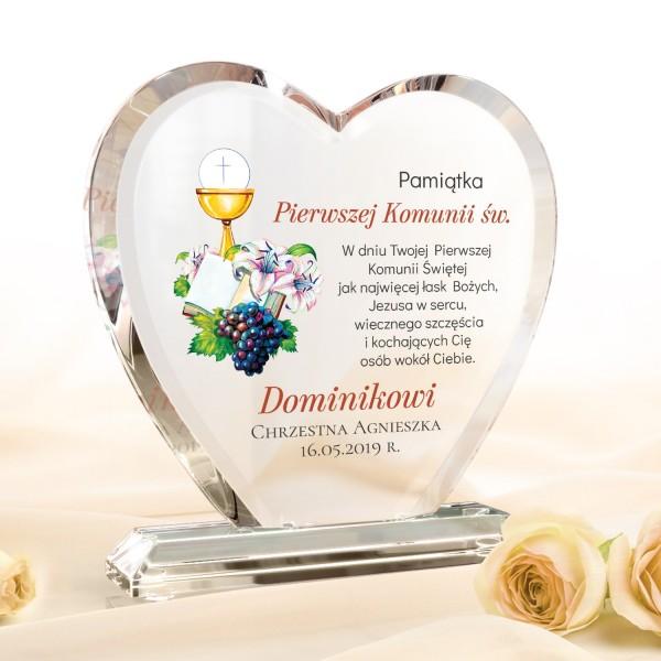 szklane serce z personalizacją na prezent na komunię