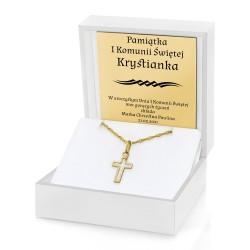 prezent na komunię dla chłopca złoty krzyżyk 585 w etui z dedykacją