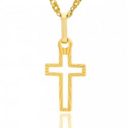 złoty krzyżyk promienie prezent na komunię dla dziewczynki