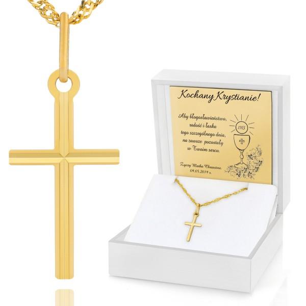 pamiątka komunijna złoty łańcuszek z krzyżykiem w etui z grawerem
