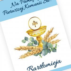 kartka komunijna z personalizacją kielich z kłosami zbóż
