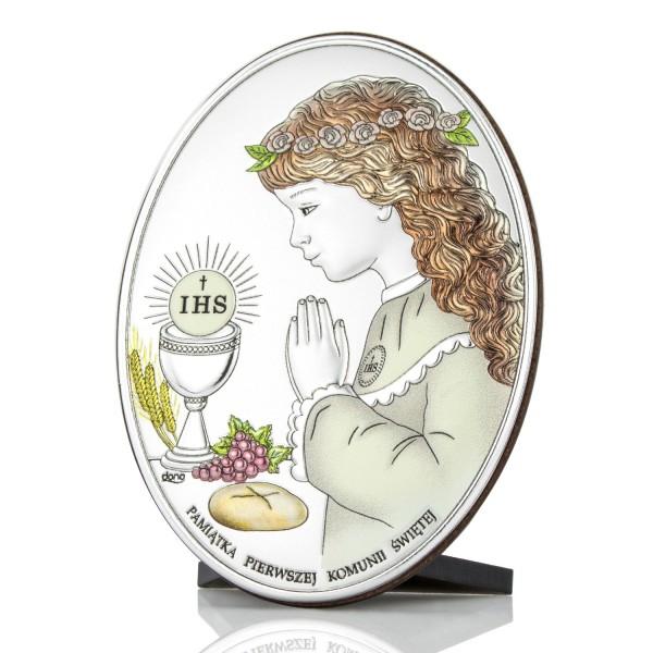 obrazek srebrny z grawerem na prezent komunijny