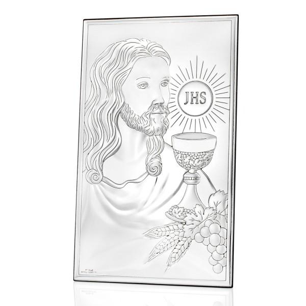 srebrny obrazek komunijny Pan Jezus z Hostią