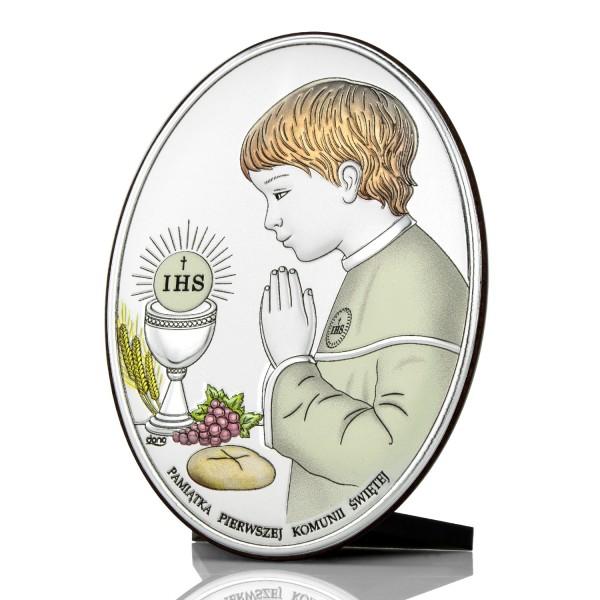 srebrny obrazek na prezent na komunię dla chłopca