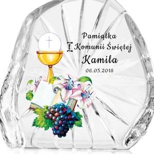 pamiątka komunii świętej kryształ z nadrukiem