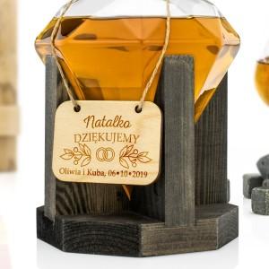 karafka do whisky z grawerem na prezent dla świadkowej diament