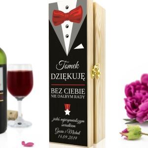 podziękowanie dla świadka skrzynka na wino z nadrukiem garnitur