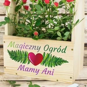 doniczka drewniana z dedykacją na prezent dla mamy