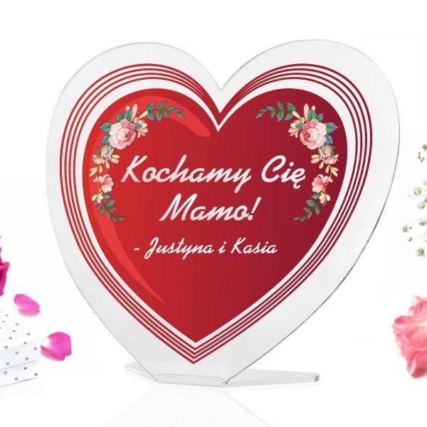 statuetka serce z kolorowym nadrukiem kochamy cię na prezent na dzień matki