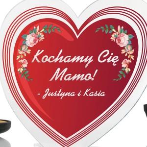 statuetka serce z dedykacją kochamy cię na prezent dla mamy