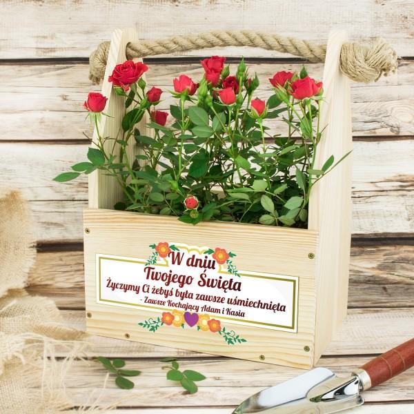 doniczka na kwiaty z dedykacją na prezent dla mamy zawsze uśmiechnięta
