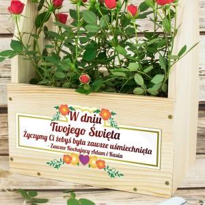prezent na dzień mamy skrzynka na kwiaty z nadrukiem zawsze uśmiechnięta