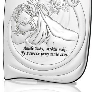 obrazek anioł stróż srebrny na prezent na chrzest