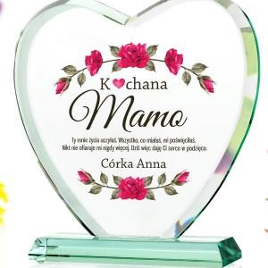 szklane serce z nadrukiem na prezent dla mamy